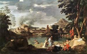 Nicolas Poussin - Landscape with Orpheus and Euridice 1648