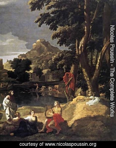 Nicolas Poussin - Landscape with Orpheus and Euridice (detail) 1648