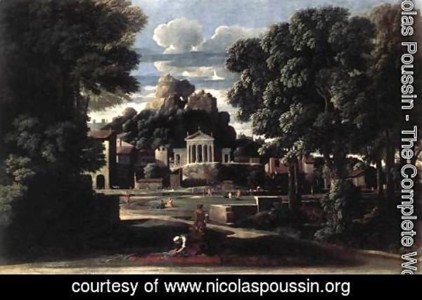 Nicolas Poussin - Landscape with the Gathering of the Ashes of Phocion by his Widow 1648