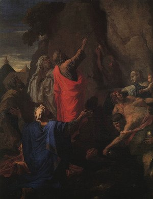 Moses Bringing Forth Water from the Rock (detail) 1649