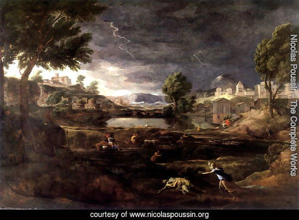 Strormy Landscape with Pyramus and Thisbe 1651