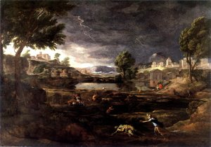 Nicolas Poussin - Strormy Landscape with Pyramus and Thisbe 1651
