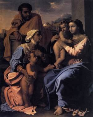 Nicolas Poussin - The Holy Family with St Elizabeth and John the Baptist c. 1655