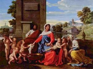 Nicolas Poussin - The Holy Family with the Infant St. John the Baptist and St. Elizabeth, 1650-51
