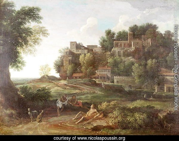 An Italianate wooded landscape with figures resting on a path and a town beyond