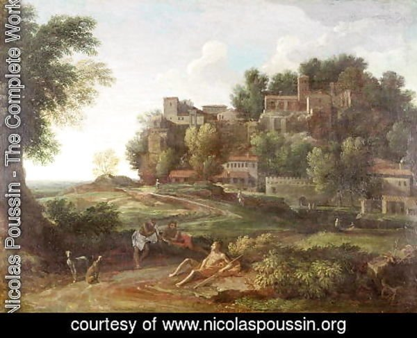 Nicolas Poussin - An Italianate wooded landscape with figures resting on a path and a town beyond