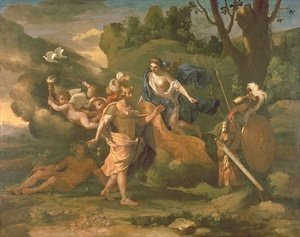Nicolas Poussin - Venus, Mother of Aeneas, Presenting him with Arms Forged by Vulcan, c.1635