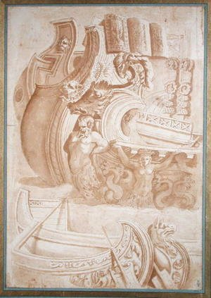 Nicolas Poussin - Study of ancient ships, after reliefs on Trajans Column