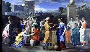 Nicolas Poussin - Eliezer and Rebecca at the Well, 1648
