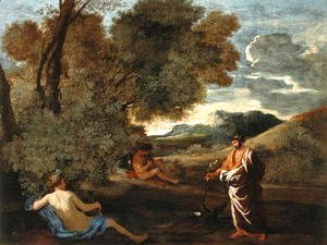 Nicolas Poussin - Landscape with Numa Pompilius and the Nymph Egeria, 1624-27
