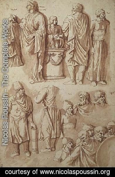 Nicolas Poussin - Various figures, studies from Trajans Column