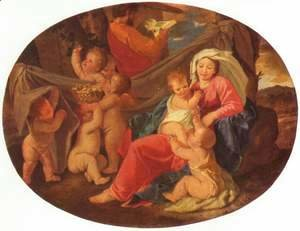 Nicolas Poussin - Holy Family with angels, Oval