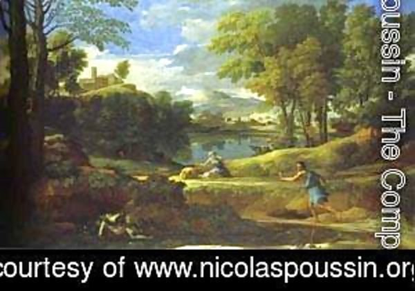 Nicolas Poussin - Landscape With A Man Running From Serpent 1648