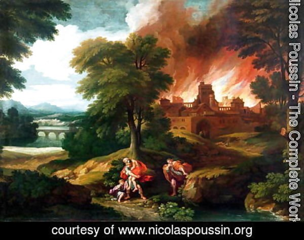 Nicolas Poussin - The Burning of Troy