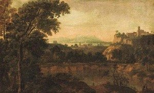 Nicolas Poussin - An extensive classical landscape with travellers near a lake