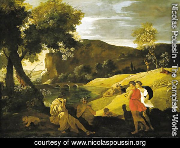 An Arcadian landscape with stories from the legends of Pan and Bacchus