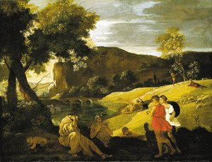 Nicolas Poussin - An Arcadian landscape with stories from the legends of Pan and Bacchus
